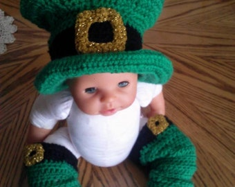 Wee Little Leprechaun Hat and Leg Warmers St Patricks Day