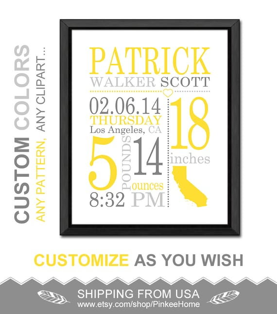 Personalized baby stats custom birth stats print birth like this item negle Image collections