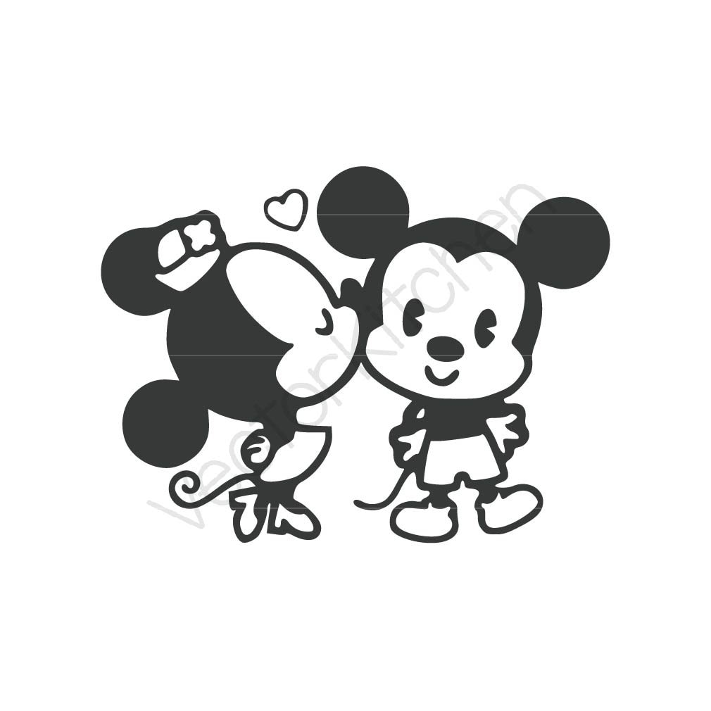 retro kissing mickey minnie inspired cutting template svg eps. Black Bedroom Furniture Sets. Home Design Ideas