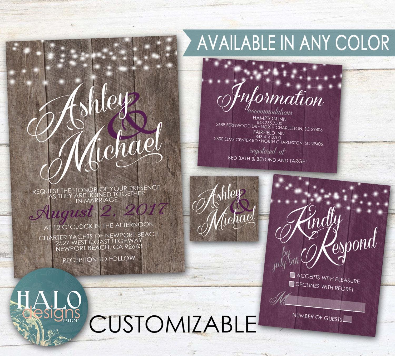 Purple Rustic Wedding Invitations: Purple Rustic Wedding Invitations Plum Eggplant Purple