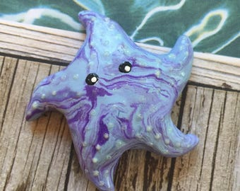 Mini Marble Starfish choose your color combination shown here in purple and light blue swirl