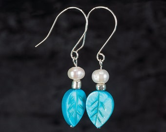 Teal Leaf and Freshwater Pearl Earrings on French Wires