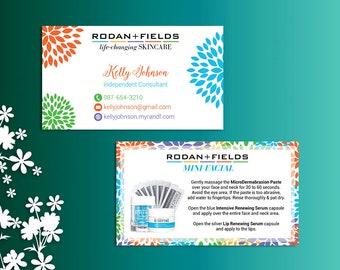 Rodan and Fields Mini Facial Card ft. Intensive Renewing Serum, Rodan and Fields Give it a Glow, Rodan and Fields Business Cards RF01