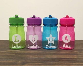 Kids 13oz. Custom Name Water Bottle With Straw