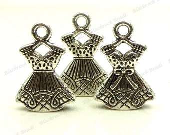 6 Dress Charms (3D and Double Sided) Antique Silver Tone Metal 22x15mm - Garment, Outfit, Party Dress  - BG21