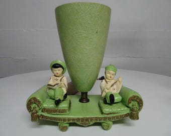 Asian Themed Figurine Chalkware Atomic Age 1950's Lamp With Fiberglass Shade   FREE SHIPPING