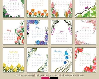 2018 Desk Calendar - Watercolor Botanicals with Clear Case
