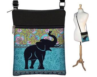 Hipster éléphant à petite besace, sac à bandoulière corps Croix, eReader housse, paisley floral hippie, bleu vert noir RTS