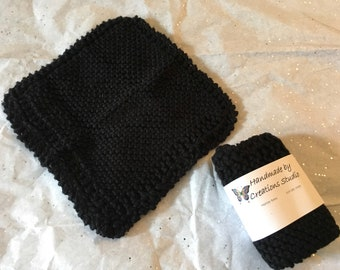 Knitted cotton dishcloth