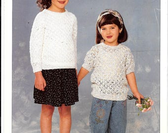 Original Sirdar knitting pattern for a child long and short sleeve jumper / sweater.  To fit sizes 20-30 ins / 51-76 cm - double knit wool.