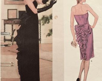 Belleville Sassoon Designer Original Vogue 1275 Vintage 1980s Sewing Pattern Misses' Strapless Party Dress Ruffled Bow Size 12 Bust 34