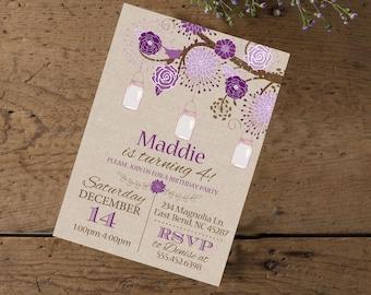Rustic Mason Jar Flower Girls Birthday Invite, Girl's Birthday Invitation, Purple Lavender Flowers Mason Jar Tree Invite