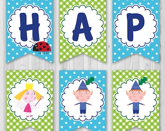 Ben and Holly's Little Kingdom banner, Ben and Holly Printable banner, Ben and Holly banner instant download, DIY
