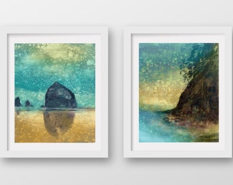 SET of TWO Oregon Coast Rain prints, limited edition fine art prints, Cannon Beach, Haystack Rock, coastal art