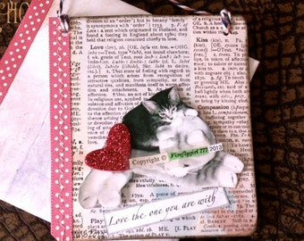 Cat Greeting Card, Handmade Card, BFF Gift,  Cat Sign,  Collage Card,  Animal Lover's Card, Gift for Her