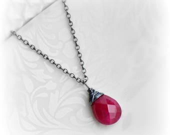 Ruby Necklace, Ruby Jewelry, July Birthstone, Red Ruby Pendant, Gift for Her, Gemstone Necklace, Genuine Ruby Necklace, Handmade, Blissaria