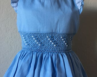 Size 4 Hand Smocked Girls' Dress - Sky Blue with Accent Flowers and Lace Sleeve Detail