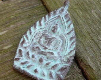 Solid Bronze Patinaed Buddha Amulet Focal Pendant - 37mm x 22mm, 1 pendant