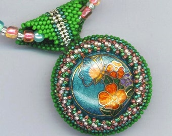Vintage Enamel Pendant, Enameled Statement Necklace, Beaded/Beadwoven Floral Pendant, Green Bead Embroidery, Cloisonné Rose/ Pink Flowers,