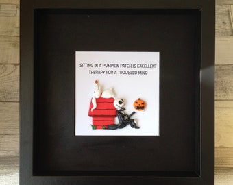 Pop Cult Crossover Box Frame - Polymer Clay Snoopy Style Kennel with Jack Skellington Style Figure and Pumpkin, and Zero the Dog