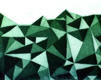 Dawn of the Cortex - science art - medical art - etching - graphics - triangle - triangles - geometric design - scandinavian art - gift art