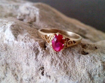SALE! Delicate Ruby ring, gold ring,red stone ring,gold stack ring,stacking ring,July birthstone ring