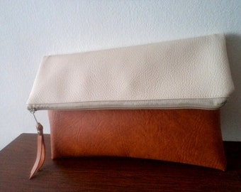 Handmade clutch bag / Two tone foldover clutch