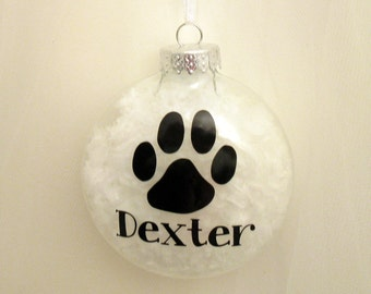 Dog Paw Print Ornament with Snow Inside Clear Pet Christmas Ornament, Personalized