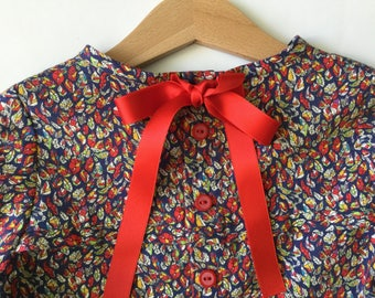 Liberty of London Floral Blouse Long Sleeve with Ribbon