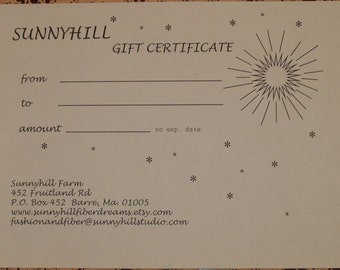 Gift Certificate for  SunnyhillFiberDreams