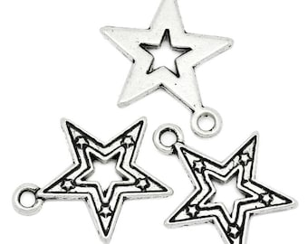 10 Pieces Antique Silver Star Charms
