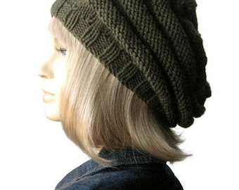 Hand Knit Hat, Beehive Beret, Vegan Hat, Fall Accessories, Knit Slouchy Beanie, Knit Beret, Fall Fashion, Womens Hat