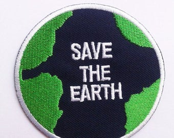 Green save the earth patch.