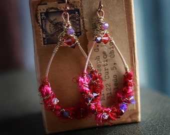 Say it Loud - Strung-Out guitar string hammered teardrop earrings with crystals and sari silk