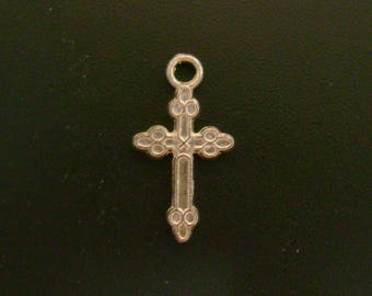 Small Cross Charm - Silver Tone - Low Shipping