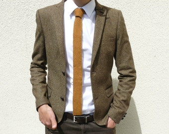 "READY TO SHIP - Skinny Knit Tie 1.75"" - Mustard Brown"
