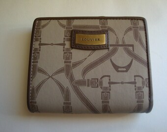 Vintage LOUVIER PARIS Browm/Beige Canvas & Leather Wallet