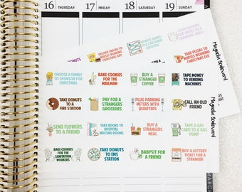 Random Acts of Kindness Bucket List Planner Stickers! Perfect for your Erin Condren, Happy Planner, Day Designer, Bullet Journal, ETC
