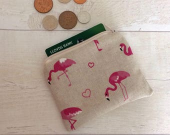 Flamingo coin purse, money purse, flamingo purse, money pouch, small zipper pouch, coin pouch, beige pouch, card wallet, pink flamingos