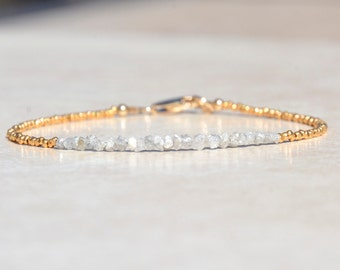 Diamond Bracelet, Gift for Her, Raw Rough Diamonds, April Birthstone, Beaded Gemstone Bracelet, Dainty Delicate Gold Vermeil Bracelet