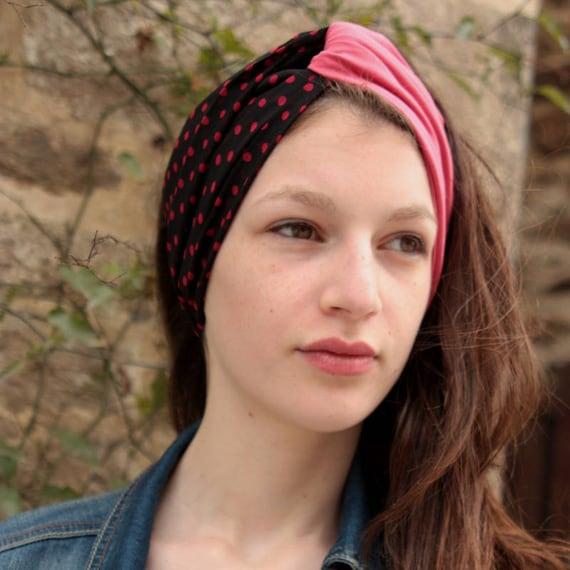 Rockabilly black polka dots red viscose and pink Jersey headband-Turban