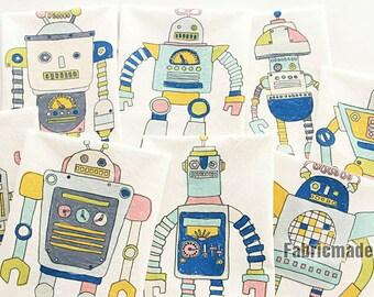 Big Robots Cartoon Linen Cotton Fabric for Kids Children Boys -  One Panel 8 Cuts