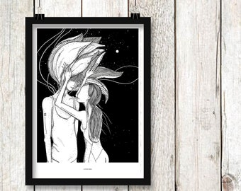 Consumed print. Illustration print, art print, black white print, wall decor, wall art
