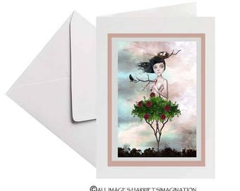 Greeting Card  | Rose Bush Girl | Blank Card | Art Greeting Card | Thorn In My Side