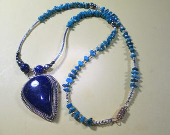 Pendant / necklace.... Lapis Lazuli AAA grade... w/turquoise and sterling silver