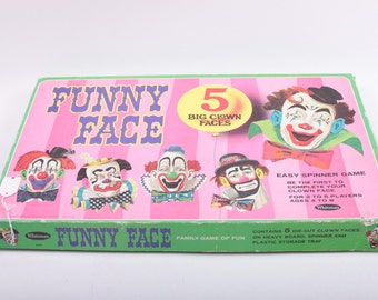 Vintage, 1968, FUNNY FACE, 5 Big Clown Faces, Whitman, Game, 4837, Interchangeable Parts, Puzzle Faces ~ The Pink Room ~ 161127