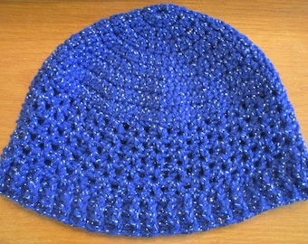 Blue Sparkle Crocheted Hat