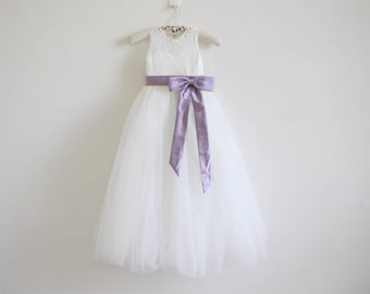Light ivory flower girl dress with gold embroidery straps light ivory flower girl dress dusty purple baby girl dress lace tulle flower girl dress with dusty purple sashbows mightylinksfo
