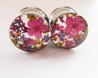 "Girly Gauges, Plugs with Real Flowers, Wedding Plugs, Pink Floral Colourful Ear Tunnels, 0g / 8mm - 2"" / 51mm"