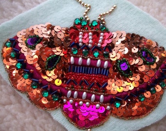 Vintage 1980's up-Cycled Sequins Patch, Moth, Butterfly, bumble Bee,